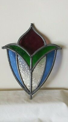 Vintage Textured Stained Leaded Glass Section Salvage Tulip Flower Cracks