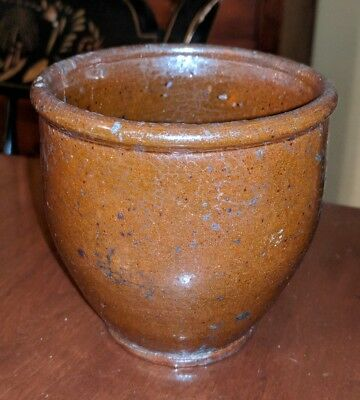 Antique American Redware Small Crock Maryland Pennsylvania 19th Century