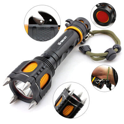 Outdoor Camping Emergancy Self Protect LED Flashlight Rechargeable Torch Light