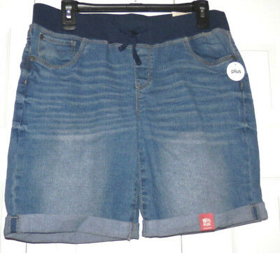 New Arizona Jean Co Girls Plus Size Bermuda Denim Shorts Size 18 1/2 Retail$30