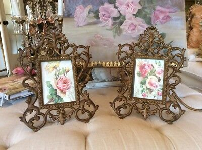 SHABBY Vtg ANTIQUE Pair Matching Metal Frames FRENCH ROCOCO STYLE