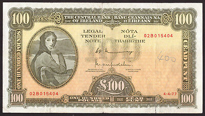 Central Bank of Ireland Eire £100 One Hundred Pounds 1977. About Very Fine