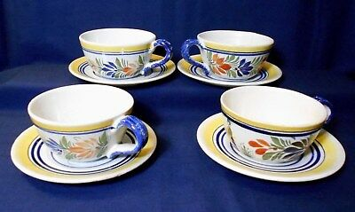 Set Of 4 French Quimper Coffee Cups & Saucers, Hand Painted Faience Art Pottery