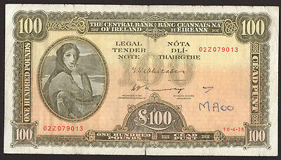 Central Bank of Ireland Eire £100 One Hundred Pounds 1975. About Fine