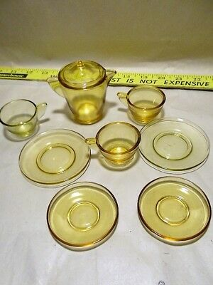 1930's Akro Agate Play Time Topaz Stippled child's Tea Set amber, 9 pcs