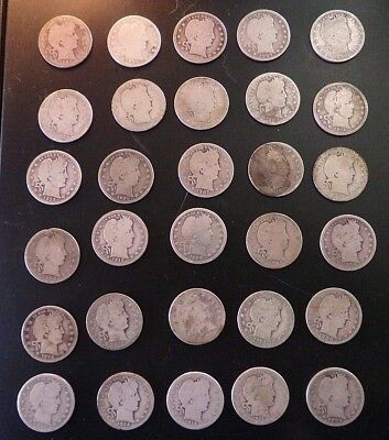 Lot BARBER QUARTERS 30 Coins 90% SILVER (1893-1916) Circulated