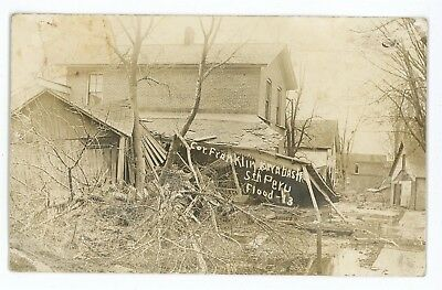 RPPC Destroyed Houses in PERU IN Great Flood of 1913 Indiana Real Photo Postcard