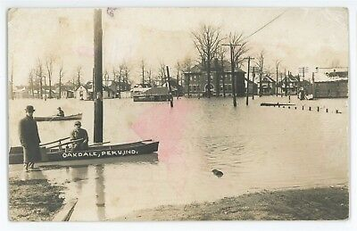 RPPC Canoe, High School PERU IN Great Flood of 1913 Indiana Real Photo Postcard
