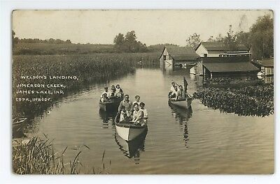 RPPC Weldon's Landing JAMES LAKE IN Great Flood of 1913 Real Photo Postcard