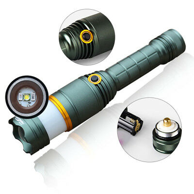 T6 LED 3 Mode Zoom Flashlight Torch Lamp Outdoor Rechargeable Warning Light Lamp