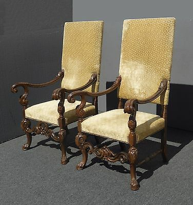 Pair Vintage Spanish Colonial Style Beige Velvet Ornate Carved Throne CHAIRS