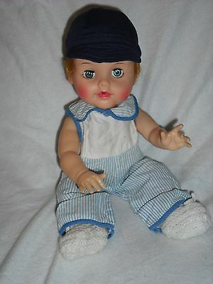 """VINTAGE 13"""" 1950's High Color Ideal Betsy Wetsy Baby Doll Redressed as boy"""