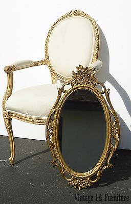 Vintage Syroco Rococo Style MIRROR Gold Floral Design Oval Wall Mirror USA