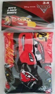 DISNEY CARS LIGHTNING MCQUEEN Licensed 2x Boy briefs undies jocks NEW sizes 2-6