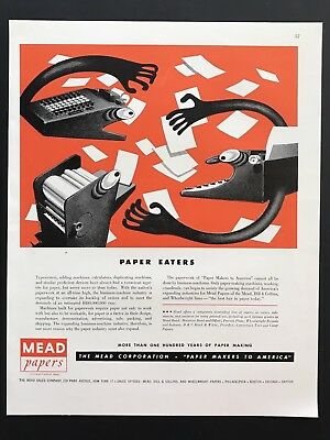 1948 Vintage Print Ad 40's MEAD PAPERS Paper Eaters Ditto Machine Typewriter