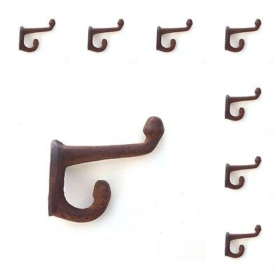 "8 Rustic Cast Iron Acorn Hooks Rust 2 1/2"" Vintage Coat Hat Wall Hook Old Lot"