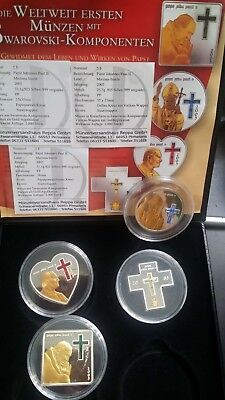 2005 4pc northern mariana pope swarovski silver coin set rare