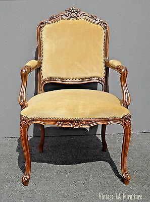 Vintage French Louis XV Style Carved Wood Tan Velvet Arm CHAIR Made in Italy