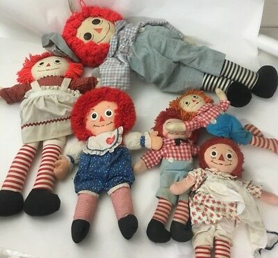Lot Of Six Raggedy Ann And Andy Dolls Lot #7