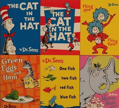 6 Dr. Seuss Mini Notepads with Semi Transparent Background Images on Inner Pages