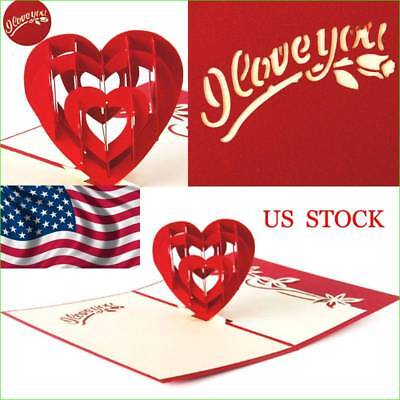 3D Pop Up Cards Valentine Lovers Happy Birthday Anniversary Greeting Cards US