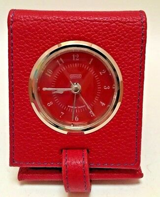 Coach Nightstand Alarm Clock Leather Case Red