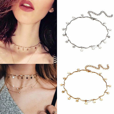 Women Gold/Silver Star Charm Minimalist Chain Tiny Choker Collar Layer Necklace