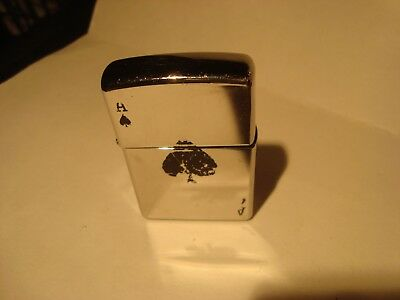 Vintage Zippo Lighter 2011 High Polished Chrome ACE of SPADES- New Hinge-Clean