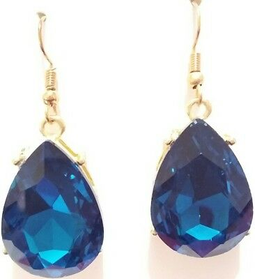 Gorgeous Teal Blue Faceted Glass Crystal Teardrop Wedding Statement Earrings