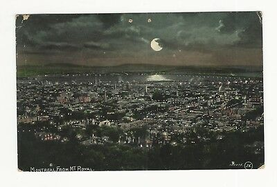 1909 Udb Montreal From Mt. Royal In Moonlight.  Crescent Man On Moon Profile?