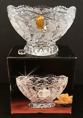 """NIB VTG Imperlux Crystal Footed 6-1/4"""" Bowl Rose Collection Lead Crystal Germany"""