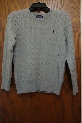 Polo by Ralph Lauren Boys Gray Cable Sweater Pullover Size L 14-16