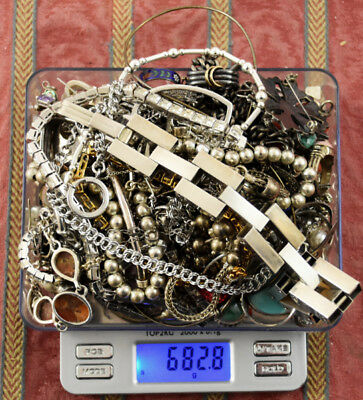 682.8 Grams Sterling Silver .925 - Scrap and Wearable Lot N