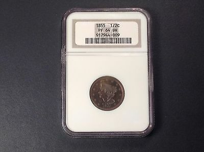 1855 NGC PR64 BN Braided Hair Half Cent   ( about 40 PROOF known )