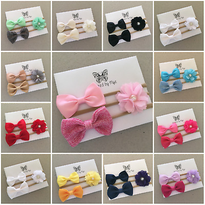 3x Headband Baby Girl Toddler Newborn Bow Fabric  Bow Nylon Hair Accessory