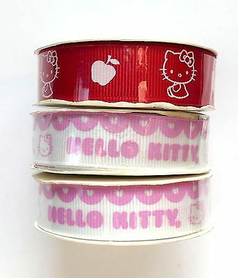 NEW 3 Rolls HELLO KITTY Ribbon--Hair Bows, Scrapbooking, Sewing Crafts, Wreaths