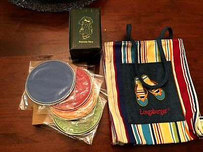 Longaberger Sunny LOT! Sunny Day Tote Summer Stripe,Coasters and Boyd's Bear NEW