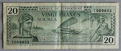 1944 New Caledonia 20 Francs Paper Note, VF.