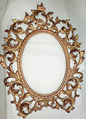 Antique Ornate Baroque Nouveau Brass Picture Frame Scroll Leaf Pattern Gold Oval