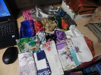 Lot Of 20 Vintage Hand Stitched Silk And More Ladies Handkerchief Scarf Lot!