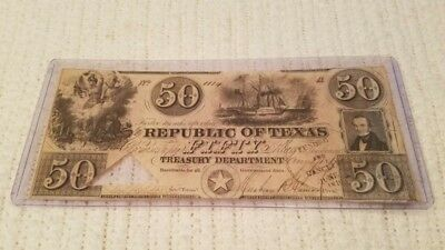 Republic of Texas-issued $50 bill dated 1840 with Starr & Lamar signatures.