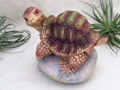 Turtle Tortoise On Rock Green Brown Realistic Sculpture Garden Free Shipping