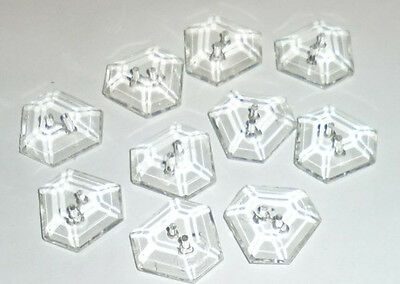 Antique Vintage Glass Crystal Buttons 20s-30s10 pc Lot Unusual Shape Hexagon