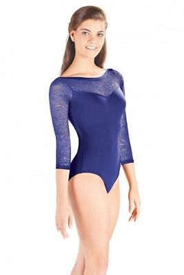 (Oxford Blue, Small) - So Danca Ladies Three-Quarter Length Sleeve Lace Leotard