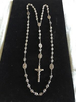 STUNNING Antique French? Sterling Silver Rosary 19th.c? Crystal Cut Beads