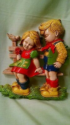 vintage homeco wall plaque. school children on bench. bright colors.
