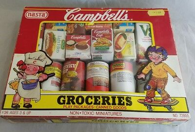Vintage Kids CAMPBELL'S Soup Groceries Play Food,  original box 22 Pieces 1989