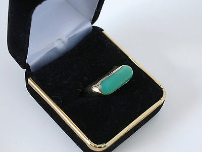 Chinese Jade Ring Green 1930's Art Deco style 14K Gold Size 7 1/2 Elegant