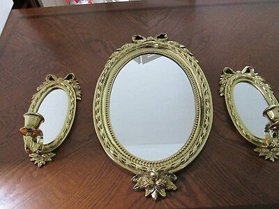 Home Interiors 3 PC Ribbons And Roses Mirror Sconce Set Hollywood Regency