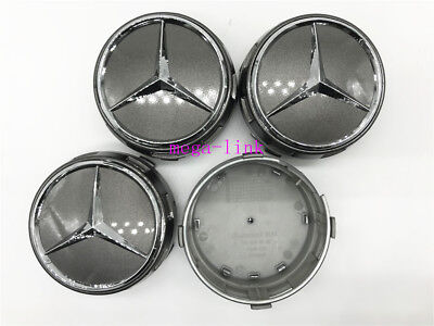 4 PCS 75mm Wheel Center Hub Caps Cover Badge Emblem For Mercedes Benz Gray
